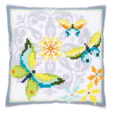 Butterflies and Flowers Cross Stitch Cushion Front Kit