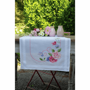 Flowers and Butterflies Table Runner Embroidery Kit