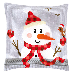 Snowman Cross Stitch Cushion Front Kit