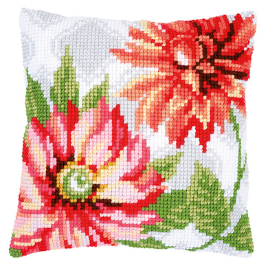 Pink Flowers Cross Stitch Cushion Front Kit