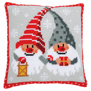 Christmas Gnomes Cross Stitch Cushion Front Kit