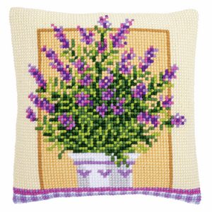 Lavender in Pot Cross Stitch Cushion Front Kit