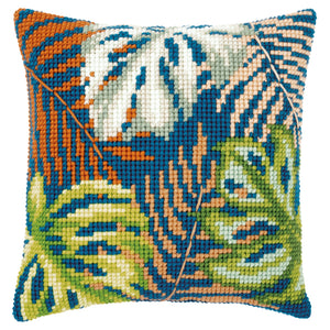 Botanical Leaves Cross Stitch Cushion Front Kit