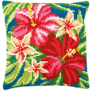 Botanical Flowers Cross Stitch Cushion Front Kit