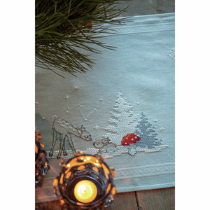 Winter Christmas Landscape Table Runner Embroidery Kit