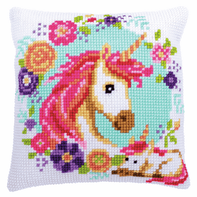 Mother and Baby Unicorn - Cross Stitch Cushion Front Kit