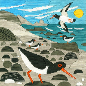 Silken Scenes - Oystercatchers Long Stitch Kit