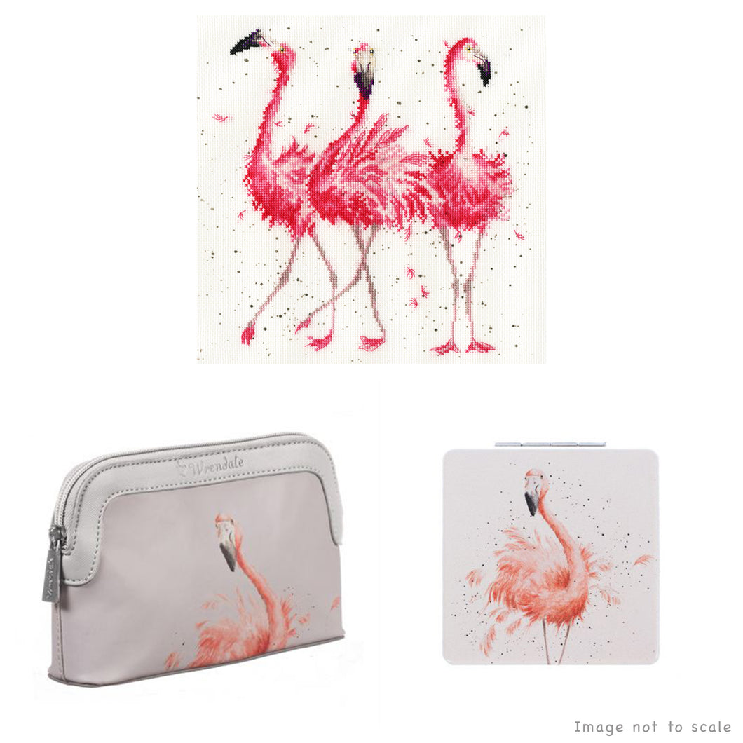 Pink Ladies Gift Set - Cross Stitch Kit, Small Cosmetic Bag & Compact Mirror