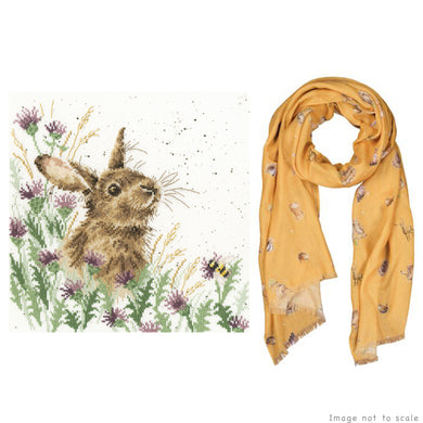 The Meadow Gift Set - Cross Stitch Kit & Mustard Woodlands Scarf
