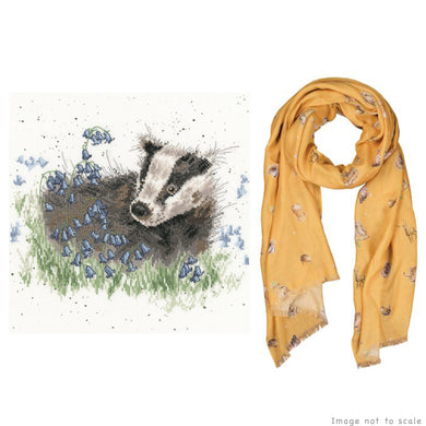 Bluebell Wood Gift Set - Cross Stitch Kit & Mustard Woodland Scarf
