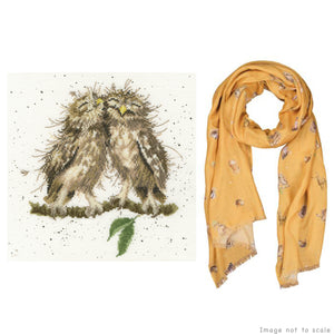 Birds of a Feather Gift Set - Cross Stitch Kit & Mustard Woodlands Scarf