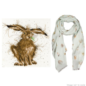 Hare Brained Gift Set - Cross Stitch Kit & Woodland Scarf
