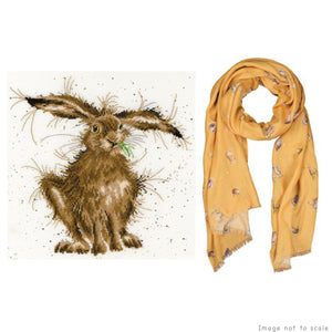 Hare Brained Gift Set - Cross Stitch Kit & Mustard Woodland Scarf