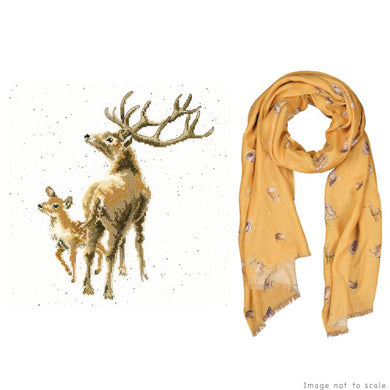 Wild at Heart Gift Set - Cross Stitch Kit & Mustard Woodlands Scarf
