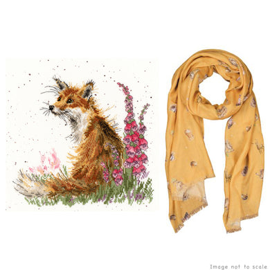 Amongst the Foxgloves Gift Set - Cross Stitch Kit & Mustard Woodlands Scarf