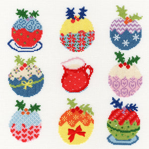 Slightly Dotty Xmas Puds Cross Stitch Kit
