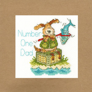 Number One Dad Cross Stitch Kit - Greetings Card