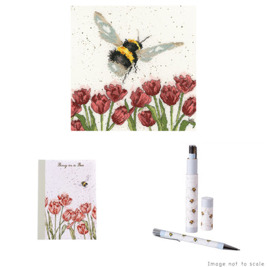 Flight of the Bumblebee Gift Set - Cross Stitch Kit, A6 Notebook & Pen