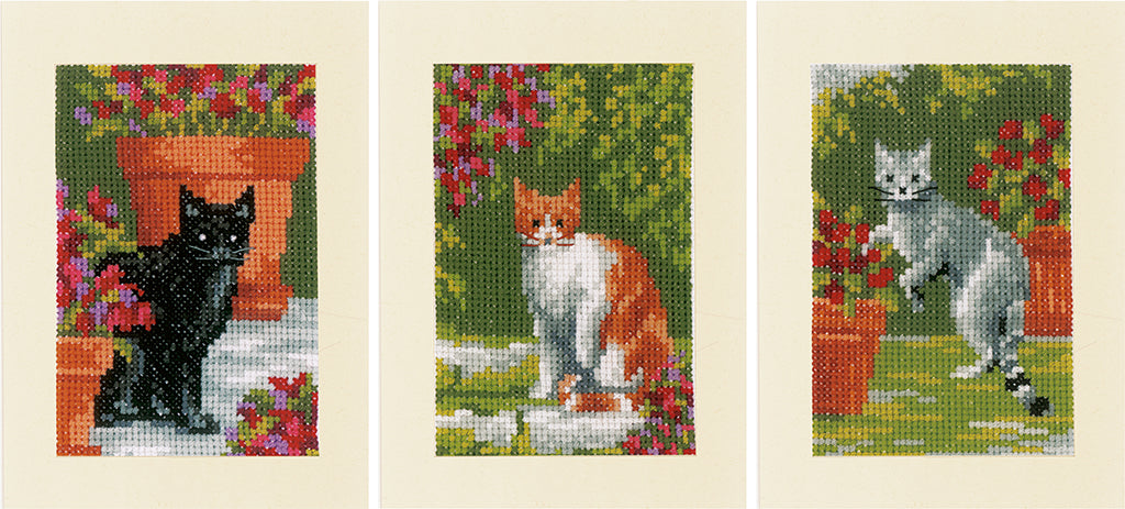 Cats Between Flowers Greeting Card Cross Stitch Kit