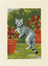 Load image into Gallery viewer, Cats Between Flowers Greeting Card Cross Stitch Kit