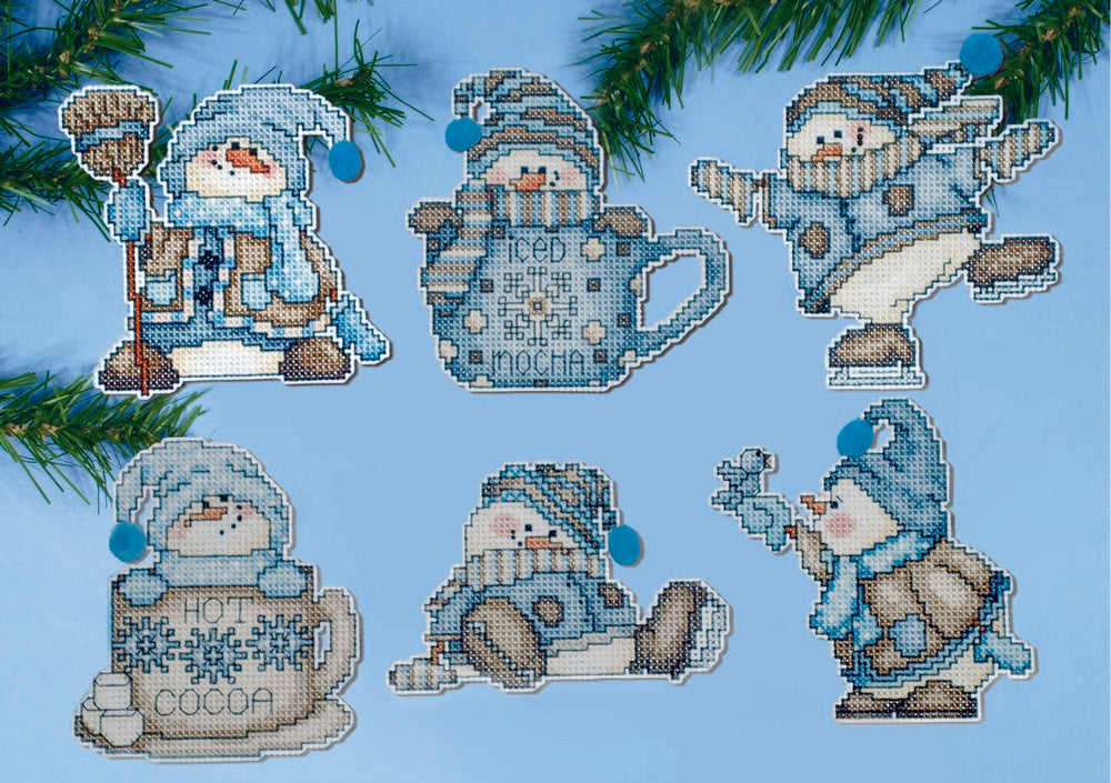 Cocoa Snowmen Ornaments Cross Stitch Kit