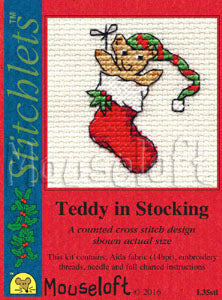 Teddy in a Stocking Stitchlets Christmas Card Cross Stitch Kit