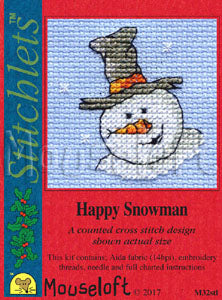 Happy Snowman Stitchlets Christmas Card Cross Stitch Kit
