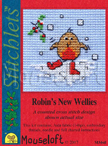 Robin's New Wellies Stitchlets Christmas Card Cross Stitch Kit