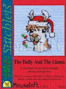 The Holly and the Llama Stitchlets Christmas Card Cross Stitch Kit