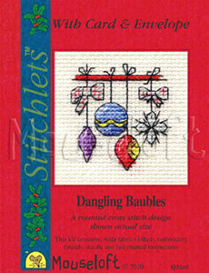 Dangling Baubles Stitchlets Christmas Card Cross Stitch Kit