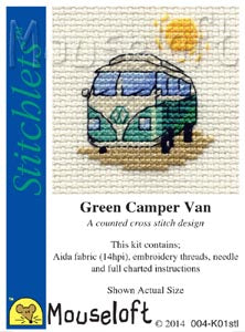 Green Camper Van Cross Stitch Kit