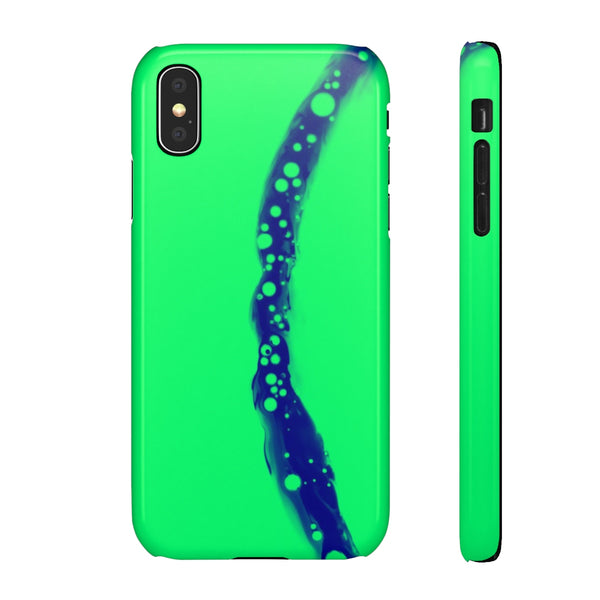 iPhone case with green and blue grafic