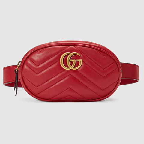 Gucci Marmont Leather Belt Bag-Red - Setse's Shop