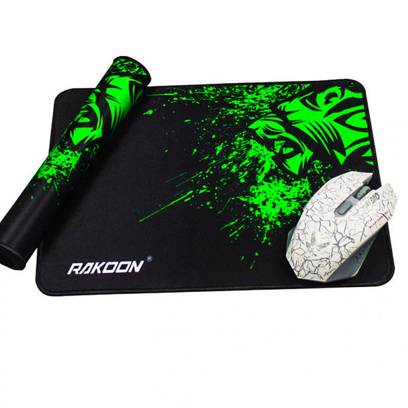 RAKOON Locking Edge Gaming Mouse Pad - Rolled up mouse pad and gaming mouse placed on top