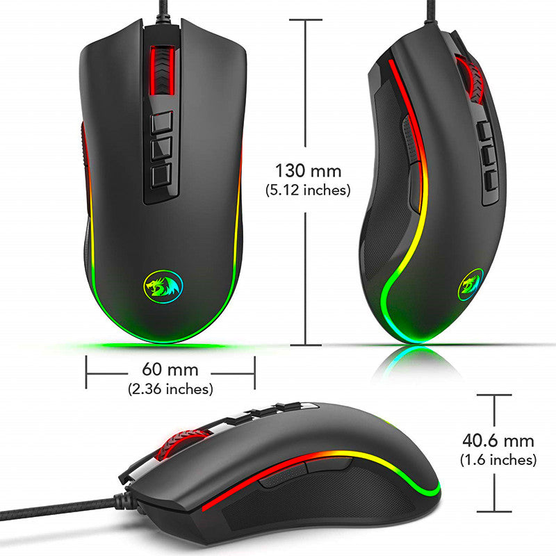 7a0f6c6c1a6 ... Redragon M711 Cobra Optical Gaming Mouse - 3 different angles and showing  measurements ...