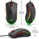 Redragon M711 Cobra Optical Gaming Mouse - 3 different angles and showing measurements