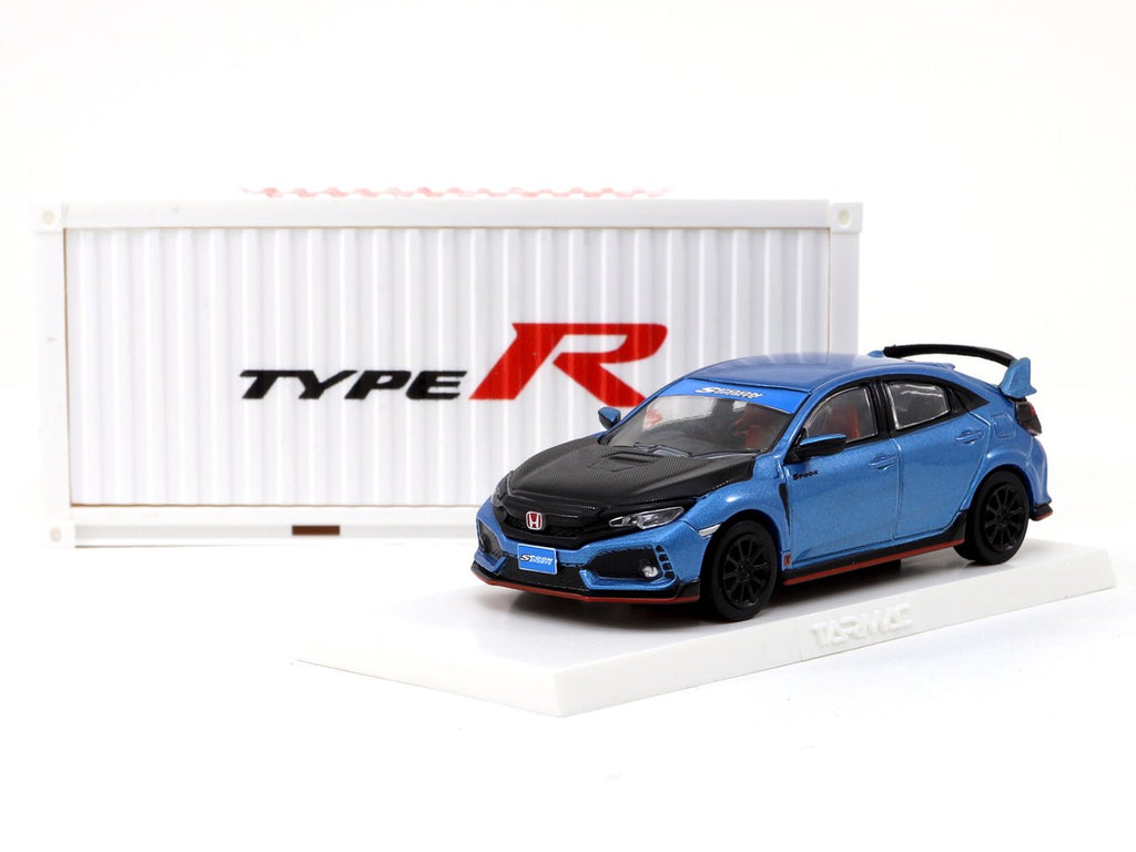Tarmac Works 1/64 Honda Civic Type R FK8 Brilliant Blue / Black Bonnet  *with container display case