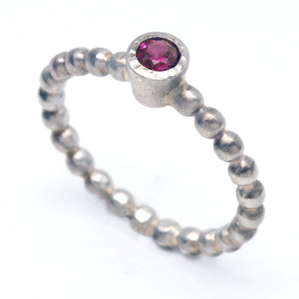 Sterling Silver with Garnet