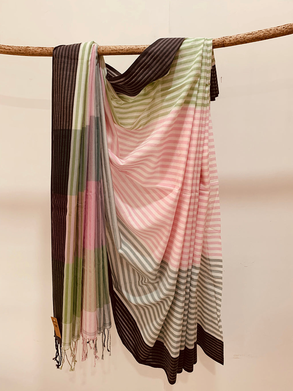 Handwoven Pink Green Cotton stripe Saree