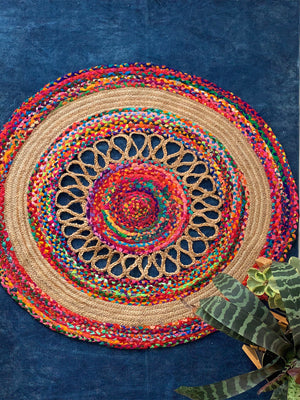 Round Multicolored Jute Rug