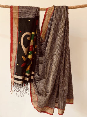 Black Ghicha Silk Saree  Cotton Jute blended Jamdani .