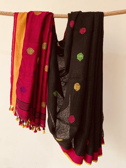 Black Handwoven Linen Saree with dot pattern butta on body