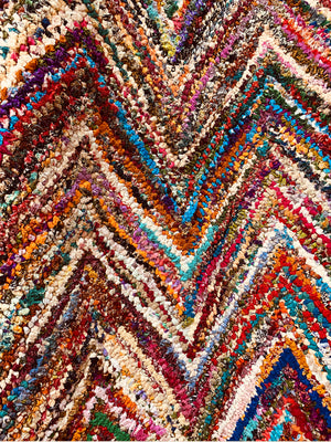 Zig Zag fabric yarn tufted  Rug