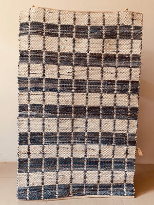Denim fabric strips Woven Rug