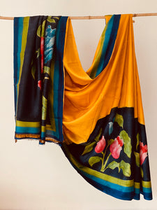 Yellow multi black Silk Hand painted Silk Saree
