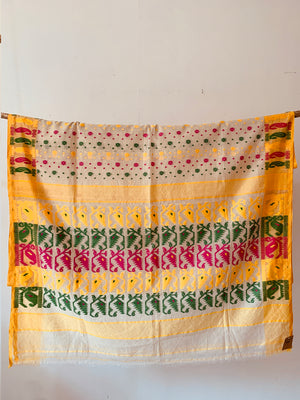 Multicolor Handwoven Cotton blend Jamdani Saree
