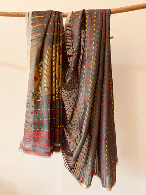 Grey Handwoven Cotton Jamdani Saree