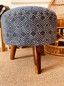 Wood Upholstered Stool BLUE