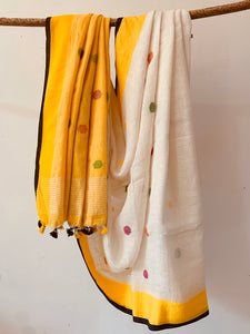 Yellow  Handwoven Linen Saree with dot pattern butta on body