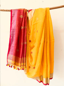 Yellow Fuchsia Handwoven Linen Saree with dot pattern butta on body